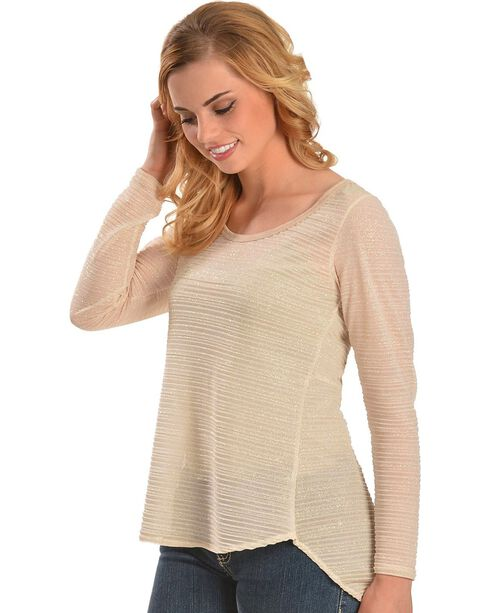 Petrol Women's Lace Back Long Sleeve High-Low Blouse, Ivory, hi-res