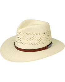 Black Creek Men's Zig-Zag Vent Toyo Straw Hat, Ivory, hi-res