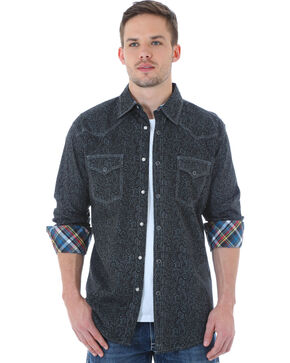 Wrangler 20X Men's Paisley Printed Long Sleeve Shirt, Grey, hi-res