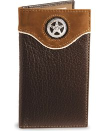 Nocona Star Concho Leather Checkbook Wallet, , hi-res