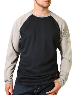 Ariat Men's FR Long Sleeve Baseball T-Shirt - Big & Tall, Black, hi-res