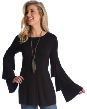 Wrangler Women's Black Long Ruffle Sleeve Tunic, Black, hi-res
