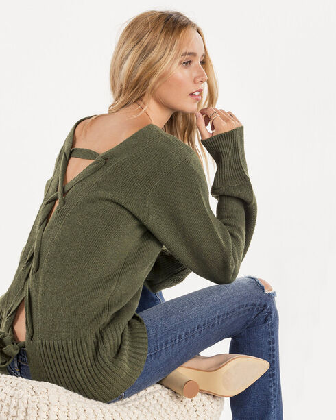 Miss Me Women's All Tied Up Sweater, Olive, hi-res