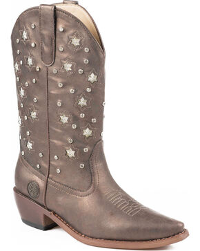 Roper Women's Light Up Studded Western Boots, Brown, hi-res
