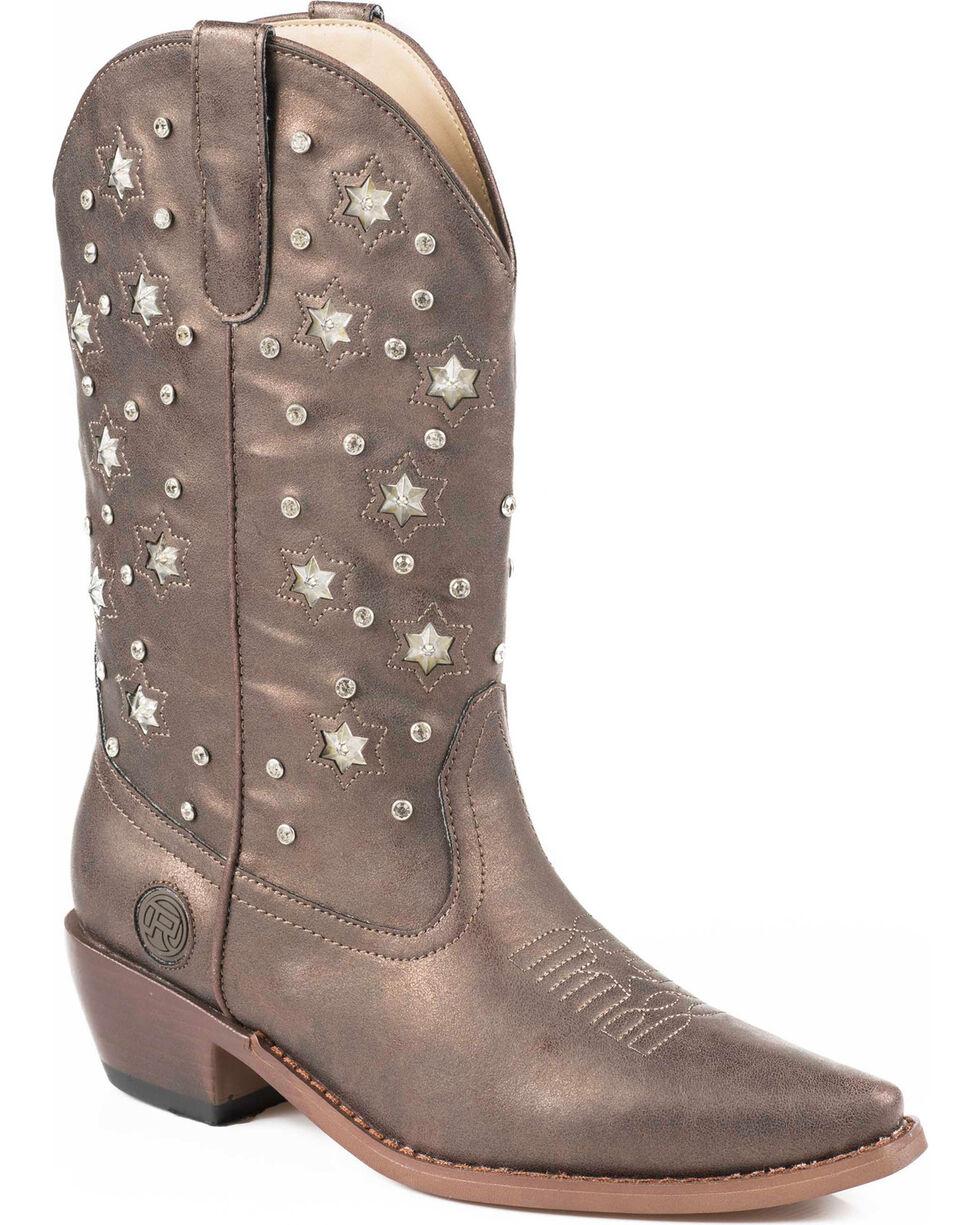 Roper Women's Light Up Studded Western Boots, Brown, hi-res