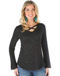 Wrangler Women's Criss Cross Neck Sweater Knit Top, , hi-res