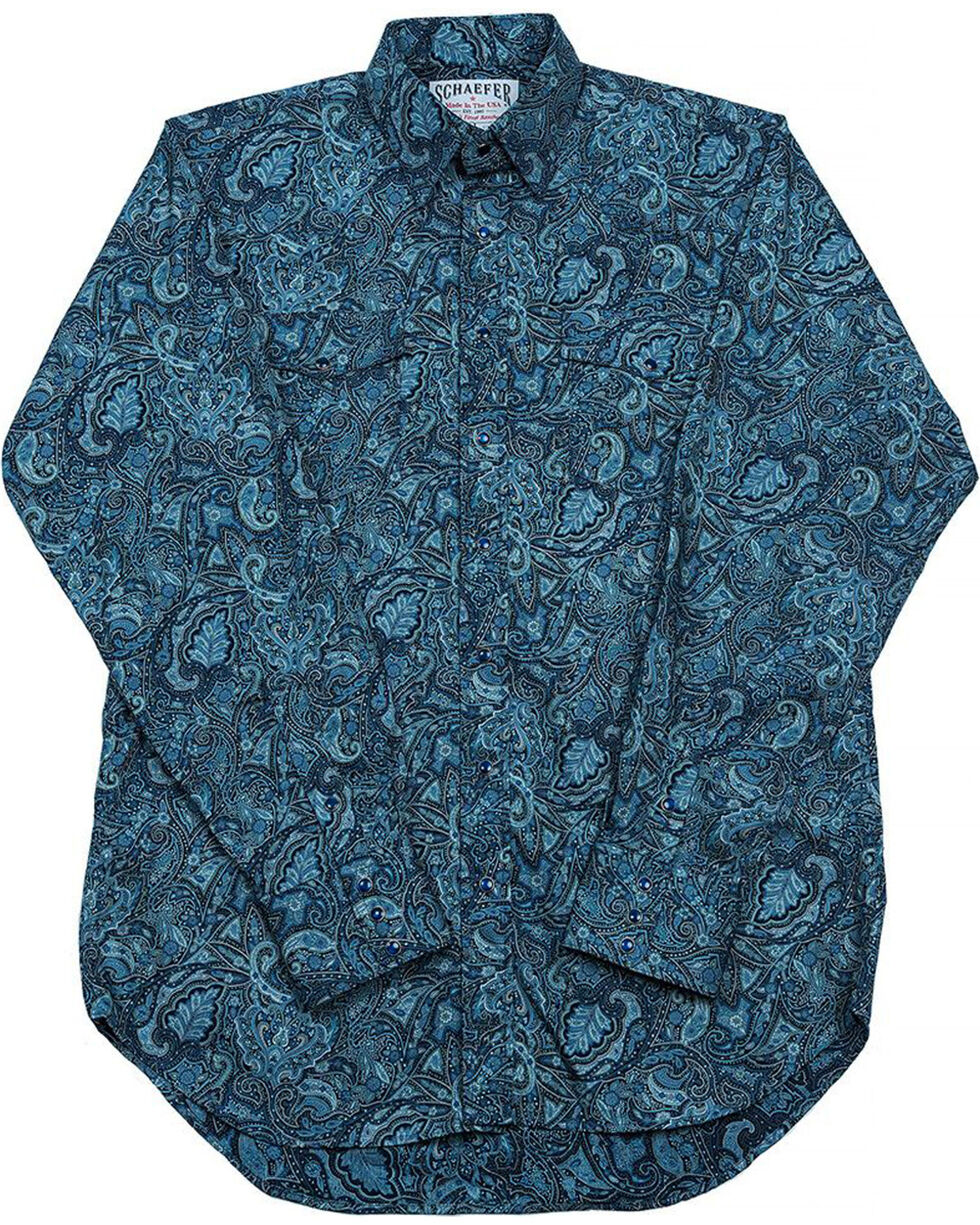 Schaefer Outfitter Men's Blue Frontier Paisley Western Snap Shirt, Blue, hi-res