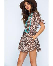 MI. OH. MI. Women's Ruffle Sleeve Giraffe Print Romper, , hi-res