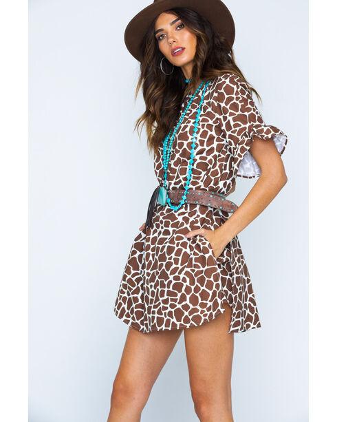 MI. OH. MI. Women's Ruffle Sleeve Giraffe Print Romper, Brown, hi-res