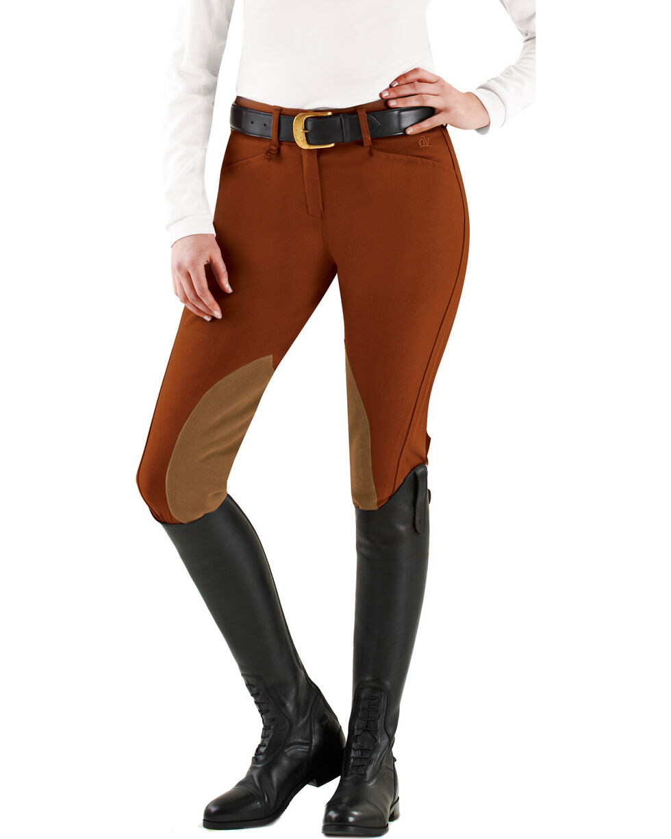 Ovation Euroweave DX Taylored Front Zip Knee Patch Breeches, Rust, hi-res