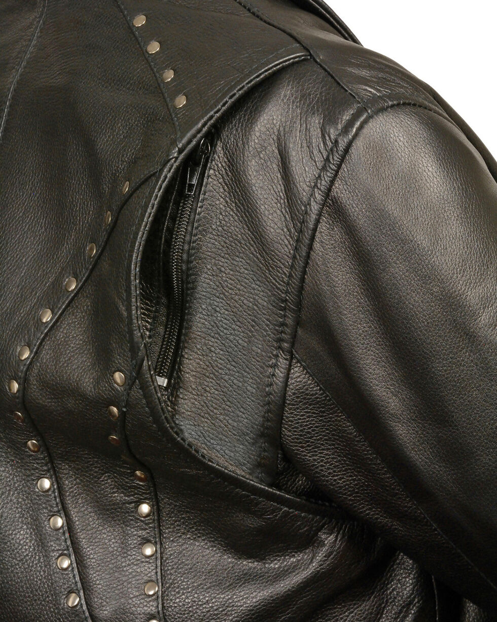 Milwaukee Leather Women's Classic Studded Motorcycle Jacket - 3X, Black, hi-res