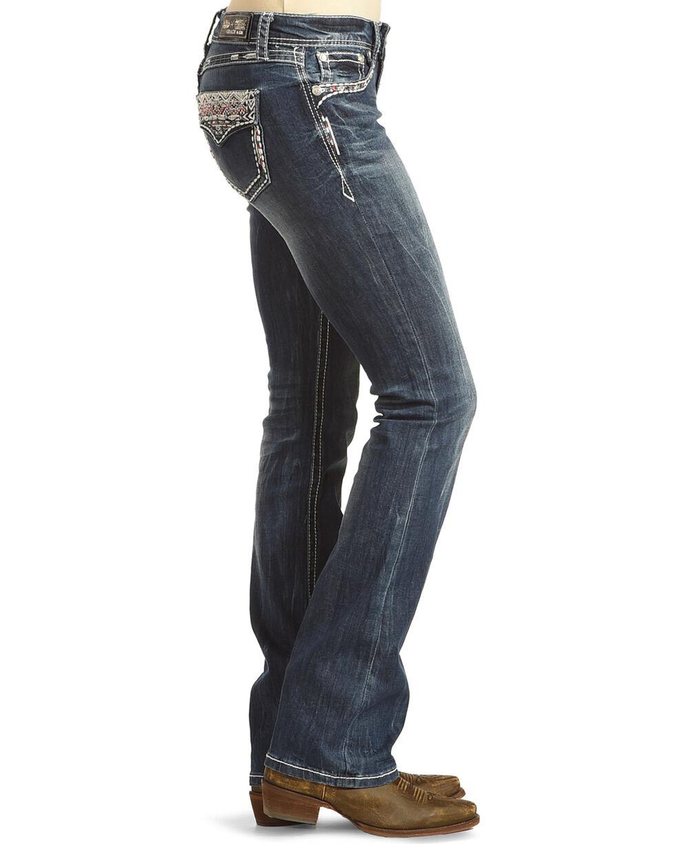 Grace in LA Women's Blue Aztec Sabrina Jeans - Boot Cut , Blue, hi-res