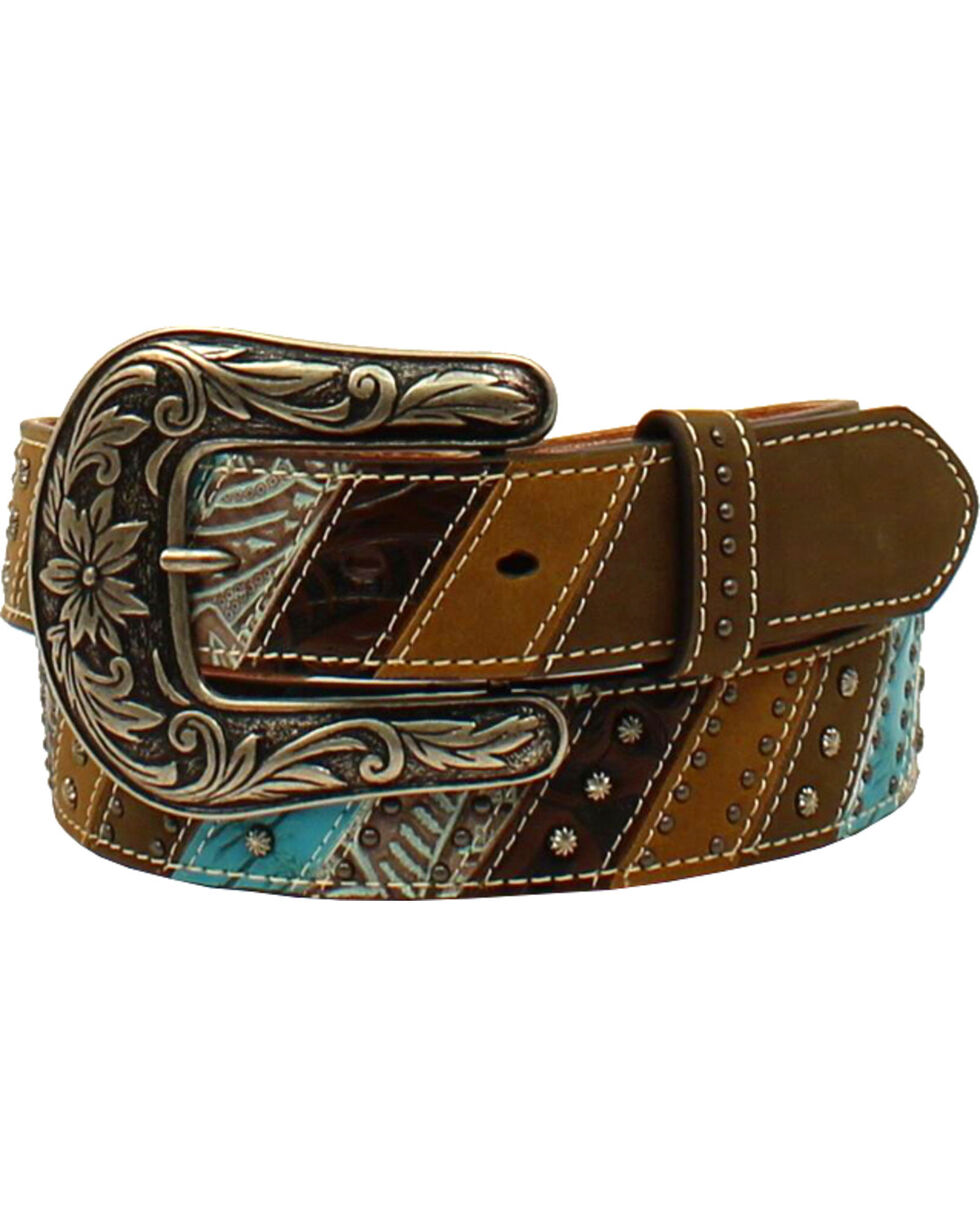 Ariat Women's Southwestern Theme Striped and Studded Belt , Brown, hi-res