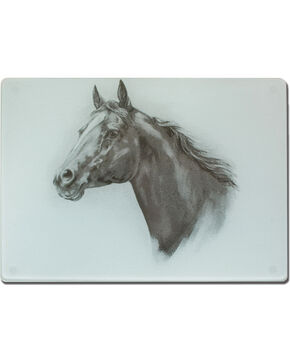 Moss Brothers Horse Head Glass Cutting Board , White, hi-res