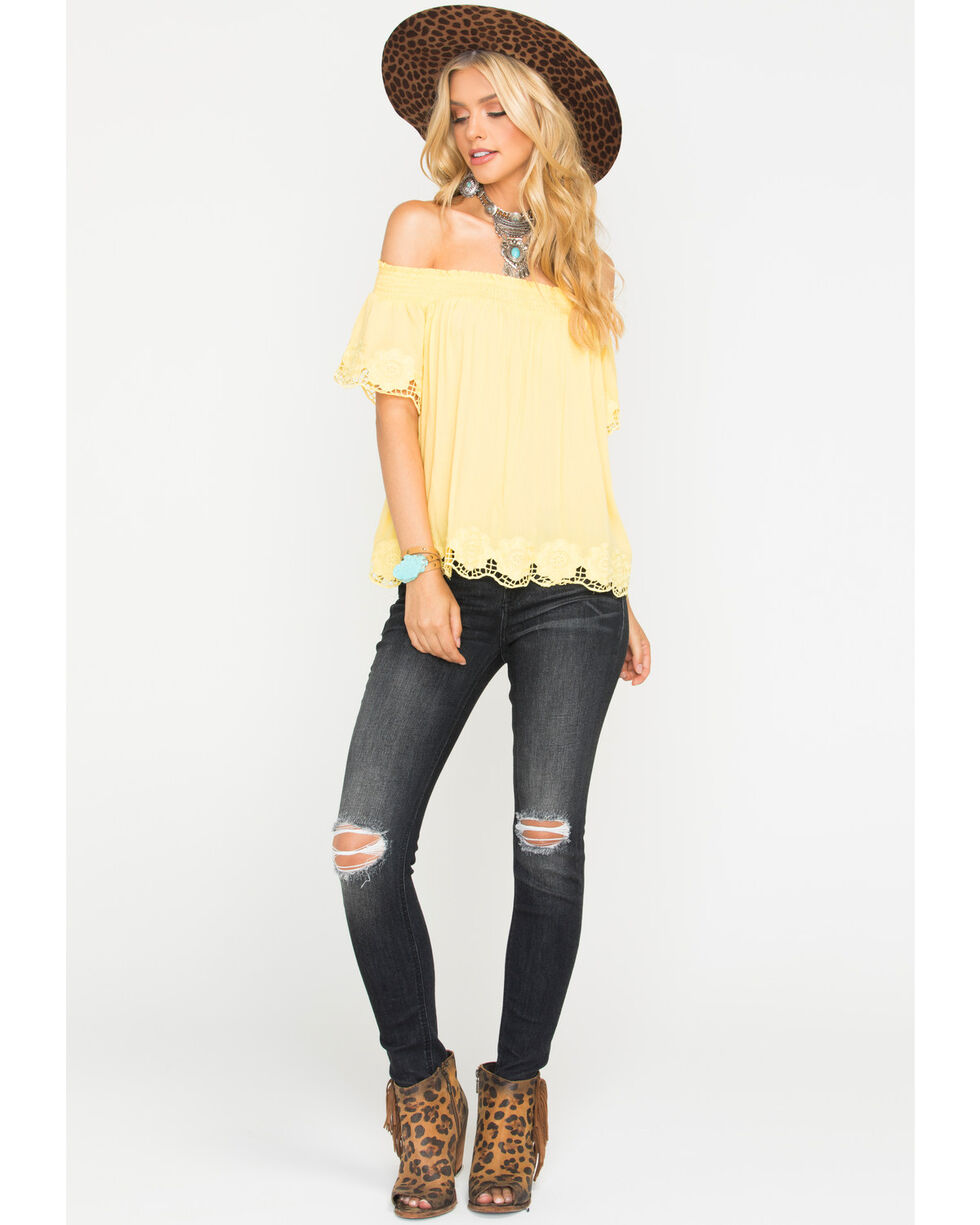 Blush Noir Women's Yellow Lace Edge Top , Yellow, hi-res