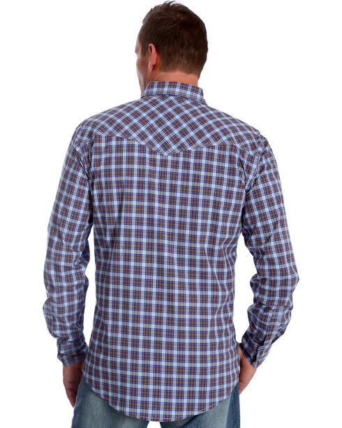 Wrangler Men's Blue Plaid 20X Advanced Comfort Competition Shirt , Blue, hi-res