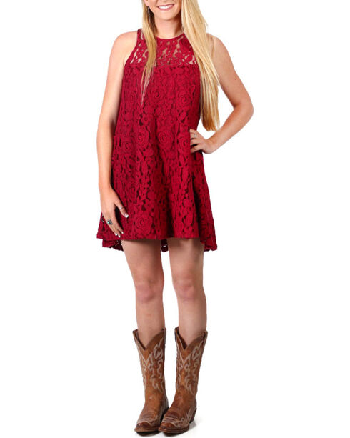 Shyanne®  Women's Flare Lace Dress, Burgundy, hi-res