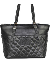 Designer Concealed Carry Quilted Black Uptown Zip Top Tote Bag, , hi-res