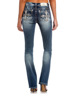 Miss Me Women's Main Stage Mid-Rise Slim Boot Cut Jeans, Indigo, hi-res