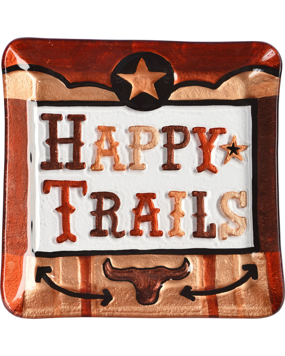 Demdaco Happy Trails Glass Fusion Plate, Brown, hi-res