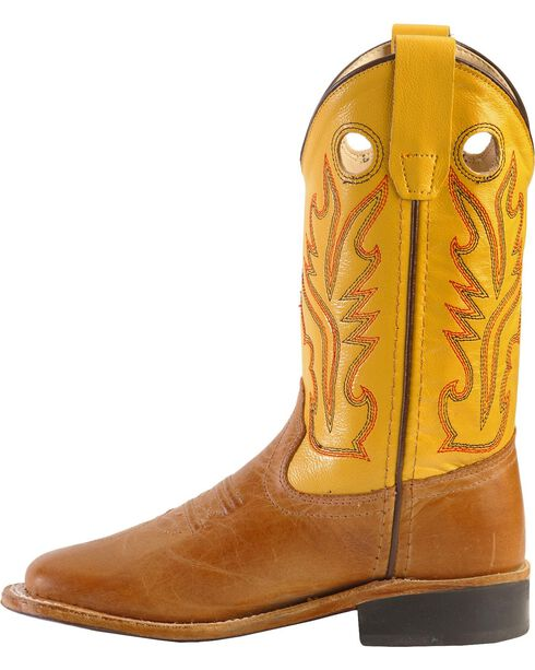 Jama Youth's Broad Square Toe Western Boots, Tan, hi-res