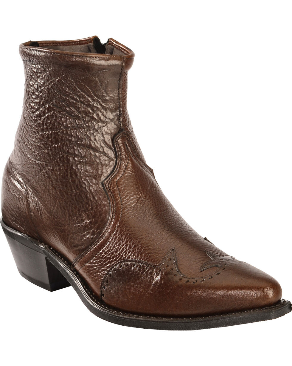 "Abilene Men's 7"" Wingtip Zip Boots, Chocolate, hi-res"