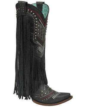 Corral Women's Crystal Pattern and Fringe Tall Western Boots, Black, hi-res