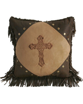 HiEnd Accents Embroidered Cross & Fringe Pillow, Tan, hi-res