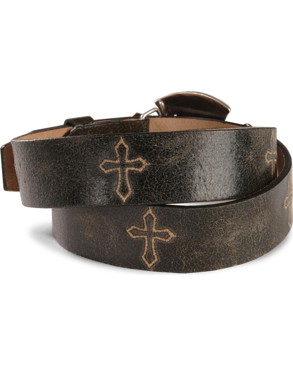 Justin Bent Rail Distressed Leather Western Belt, Black, hi-res