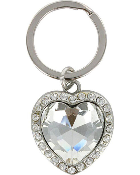 Shyanne® Silver Rhinestone Heart Keychain, Silver, hi-res