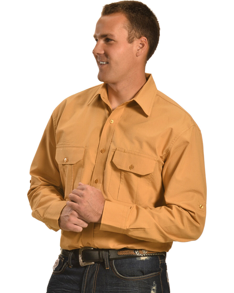 Cowboy Legend Men's Tan Ripstop Western Work Shirt , Tan, hi-res