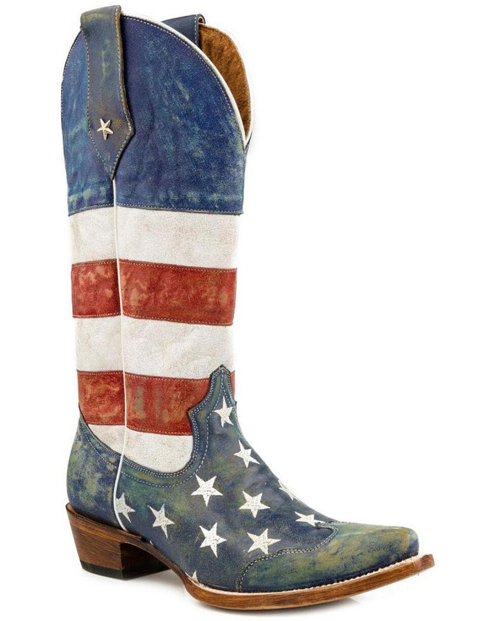 Roper Women's Americana Flag Western Boots, Blue, hi-res