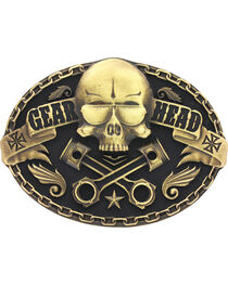 Montana Silversmiths Gear Head Skull Belt Buckle, , hi-res