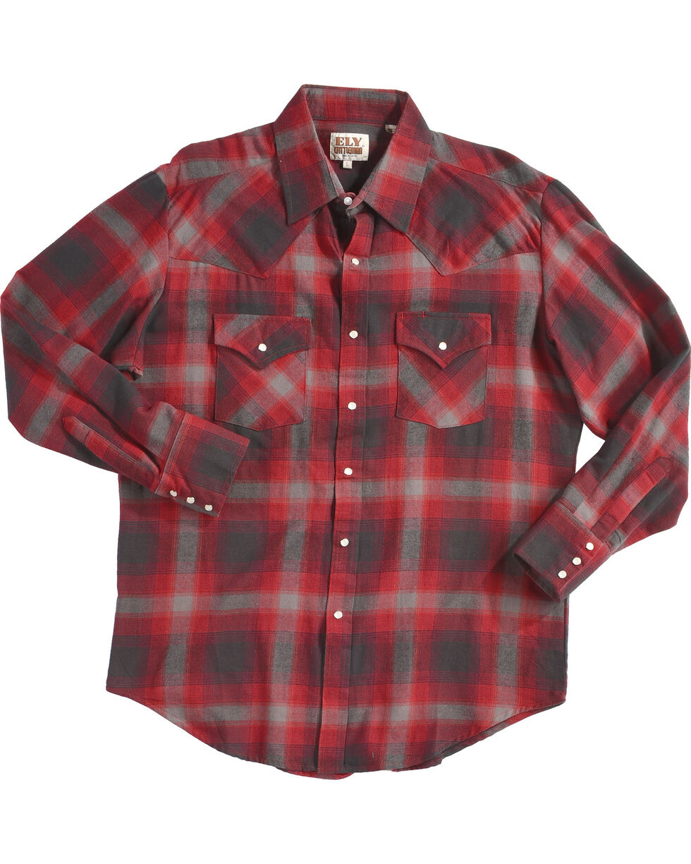 Ely Cattleman Men's Red Western Flannel Shirt , Red, hi-res