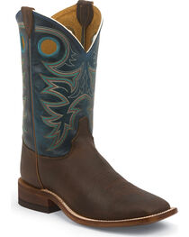 Justin Men's Square Toe Western Boots, Brown, hi-res