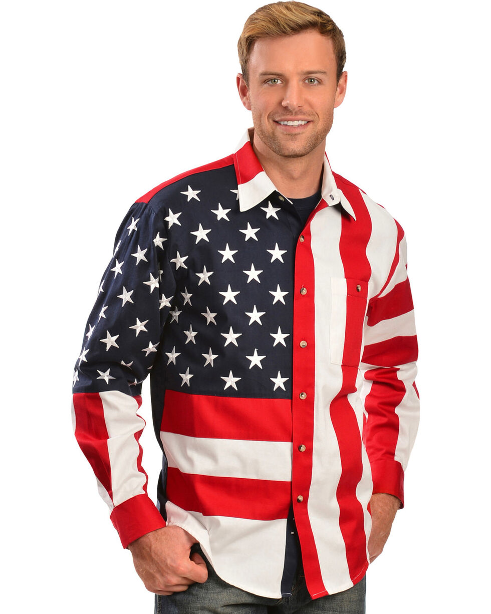 Scully Patriotic American Flag Western Shirt - Big, Multi, hi-res