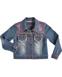 Cowgirl Hardware Girls' Pink Stitched Horse Denim Jacket, , hi-res