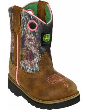 John Deere® Infant's Pink Camouflage Western Boots, Camouflage, hi-res