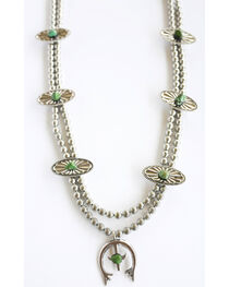 West & Co. Women's Silver Squash Blossom Turquoise Necklace, , hi-res