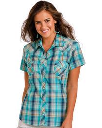 Panhandle Women's Western Plaid Short Sleeve Shirt , , hi-res