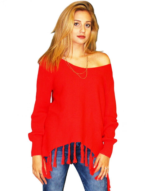 Angel Premium Women's Red Stevie Sweater , Red, hi-res