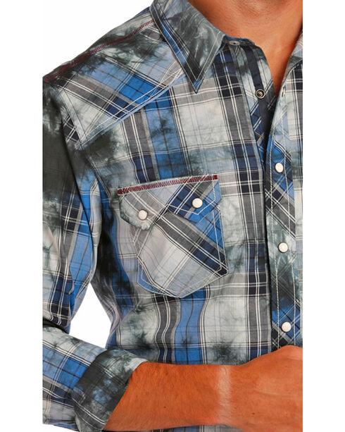 Rock & Roll Cowboy Men's Distressed Plaid Western Shirt, Blue, hi-res