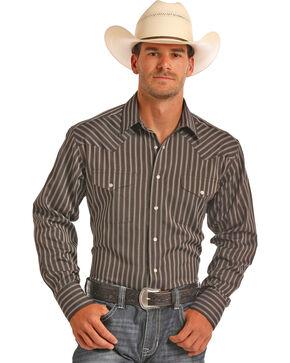 Panhandle Men's Brown Striped Long Sleeve Shirt, Brown, hi-res