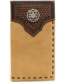Ariat Men's Rodeo Basket Weave Embossed Lacing Wallet, , hi-res