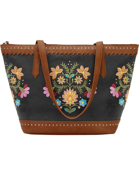 Bandana by American West Women's Maya Zip Top Tote, Charcoal Grey, hi-res