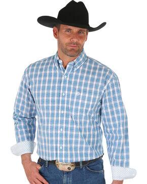 Wrangler George Strait Men's Blue Classic Plaid Shirt - Big, Blue, hi-res