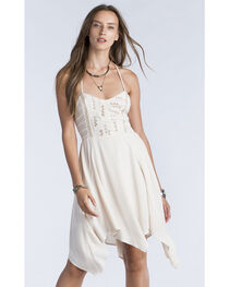 Miss Me Women's Taupe Strappy Smocked Back Dress , , hi-res