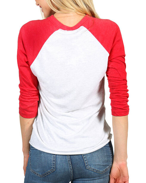 "Bohemian Cowgirl Women's ""Roots"" Long Sleeve Baseball Tee, Red, hi-res"