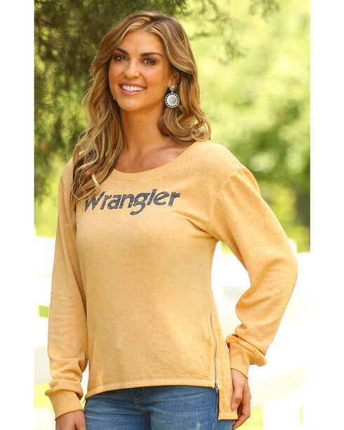 Wrangler Women's Hi Lo Zippered Seams Sweatshirt, Dark Yellow, hi-res