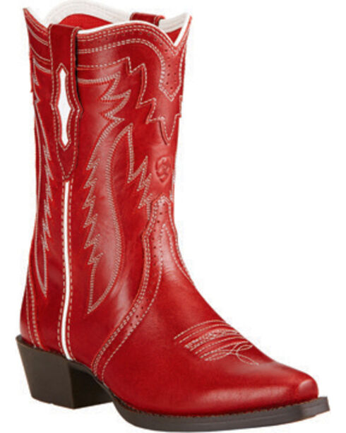 Ariat Girls' Red Calamity Rodeo Western Boots, Red, hi-res
